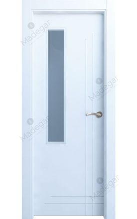 Puerta interior actual lacada Innova, termo-acústica ld7 Cedro 1VD, blanco. Madegar