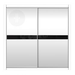 Armario de diseño, corredera, combinación en lacado blanco y cristal lacobel negro. Modelo Mdg16