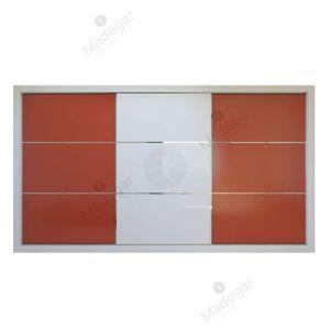 Armario de diseño, corredera, combinación en cristal lacado colores. Modelo Mdg9