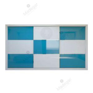 Armario de diseño, corredera, combinación en cristal lacado colores. Modelo Mdg11