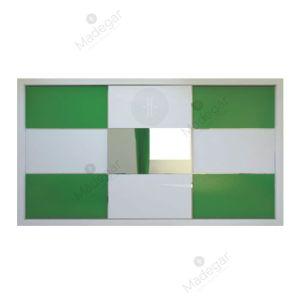 Armario de diseño, corredera, combinación en cristal lacado colores y espejo. Modelo Mdg12