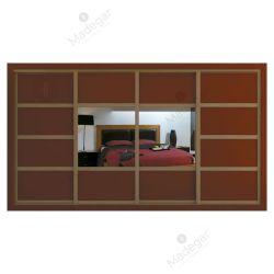 Armario de diseño, corredera, combinación en lacado colores y espejo. Modelo Mdg14