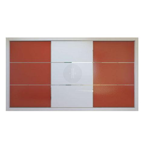 Armario-de-diseno-corredera-Lacado-fondo-combinación-colores-rojo-y-blanco-Modelo-VIDRIO-2-LV