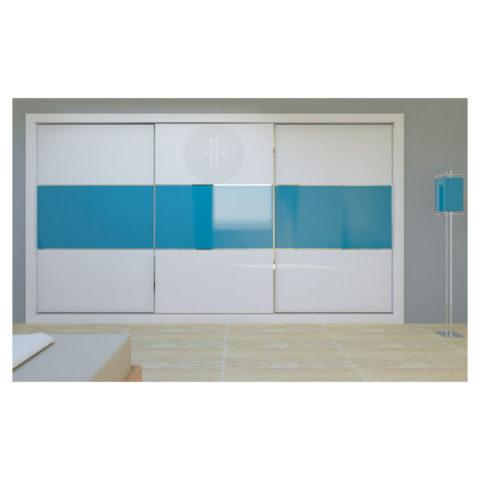 Armario-de-diseno-corredera-Lacado-fondo-combinación-de-colores-azul-y-blanco-Modelo-VIDRIO-1-LH