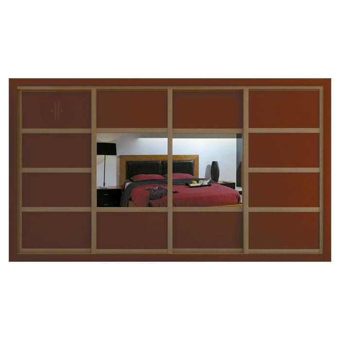 Armario-de-diseno-corredera-combinación-lacado-de-colores-y-espejo-central-Modelo-DUAL-4H