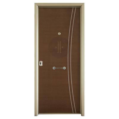 Puerta metálica diseño en madera