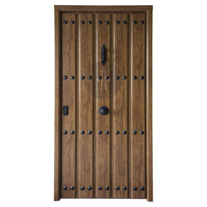 Puerta de entrada exterior de seguridad acorazada en casta o rustico modelo alc zar - Puertas de castano ...