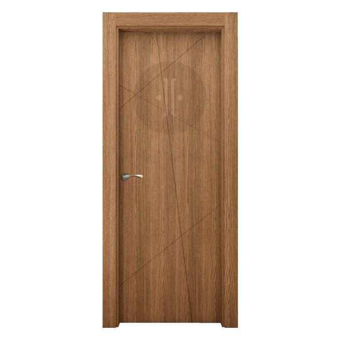 Puerta de interior de dise o en roble casta o claro con poro abierto modelo ria o - Puertas de castano ...