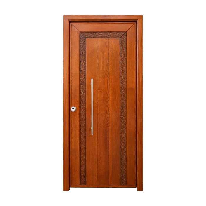 Puerta exterior de madera maciza en pino tintada modelo for Puertas entrada exterior
