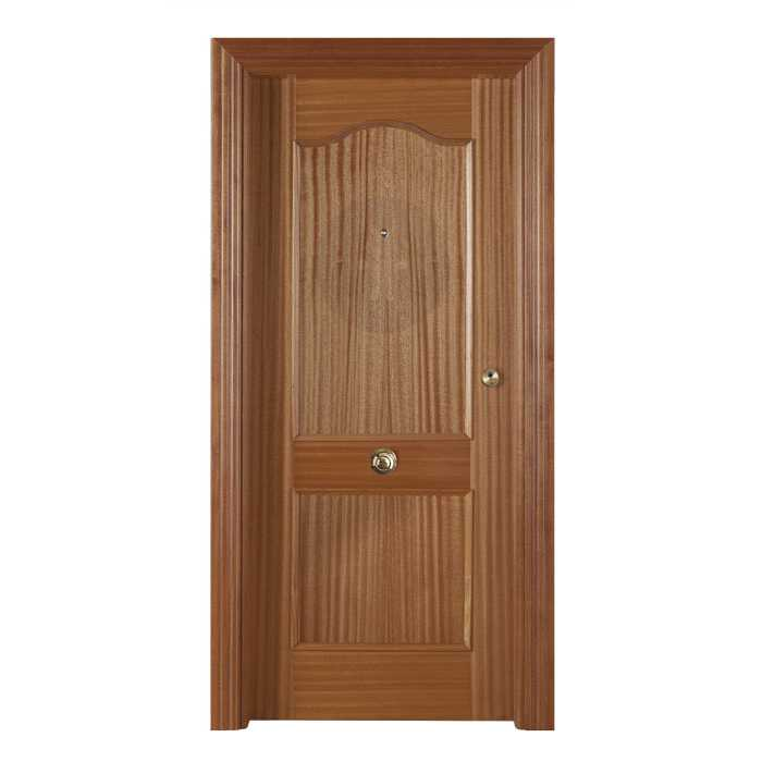 Puerta exterior de seguridad blindada en sapelly barnizada - Puerta exterior blindada ...